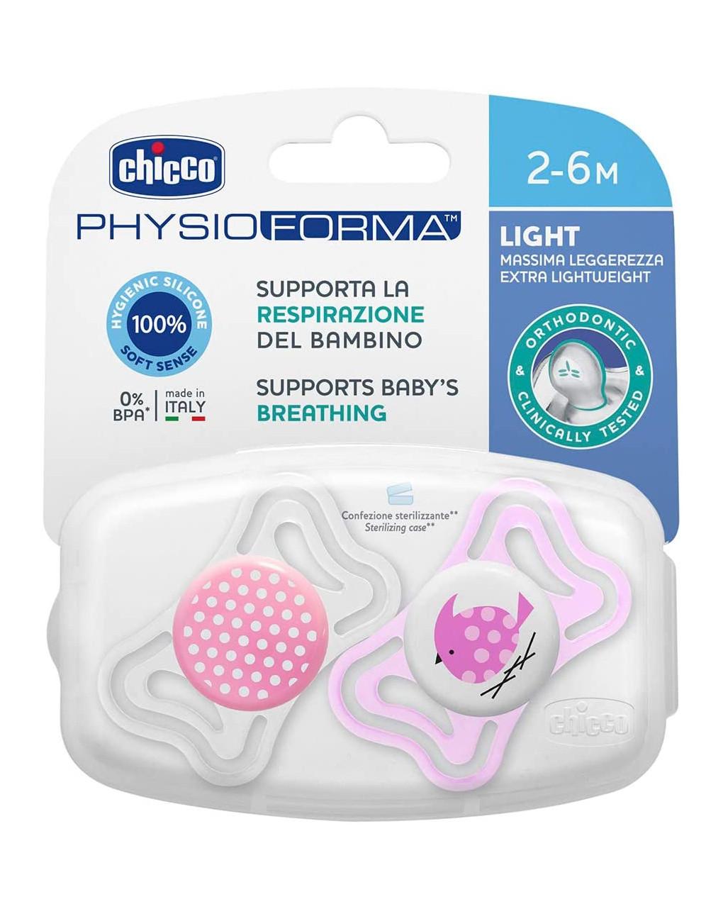 Succhietto chicco light 2-6 mesi bimba - 2 pz - Chicco