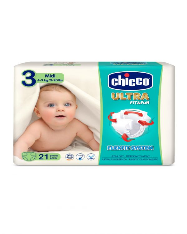 Chicco - Pannolini Ultra Soft tg. 3 (4-9 Kg) - pacco singolo 21 pz - Chicco