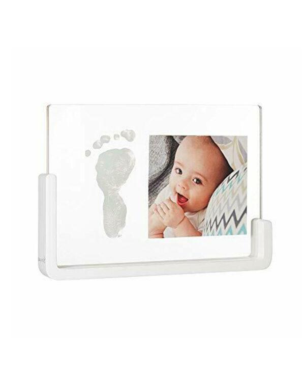 Portafoto impronte neonato trasparente con base legno - Baby Art