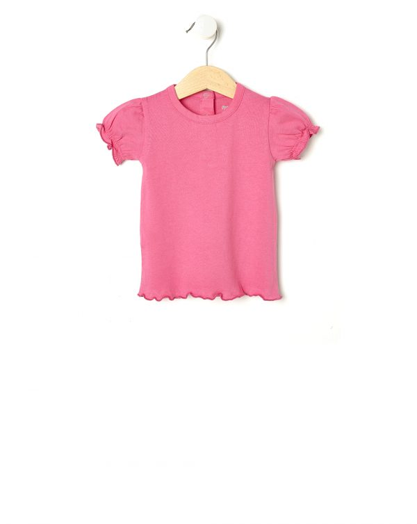 T-shirt fucsia con maniche a sbuffo - Prénatal