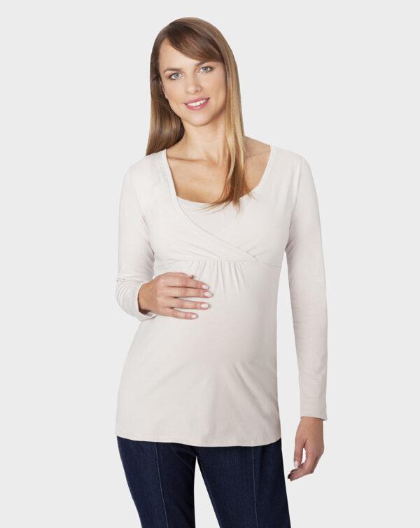 T-shirt maniche lunghe tessuto feeding beige - Prénatal