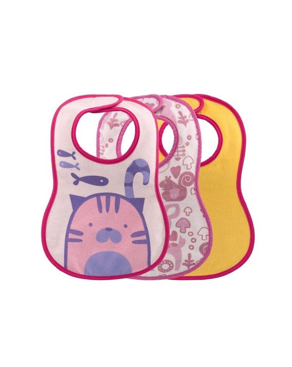 Set 3 pezzi bavaglini rosa chicco - Chicco