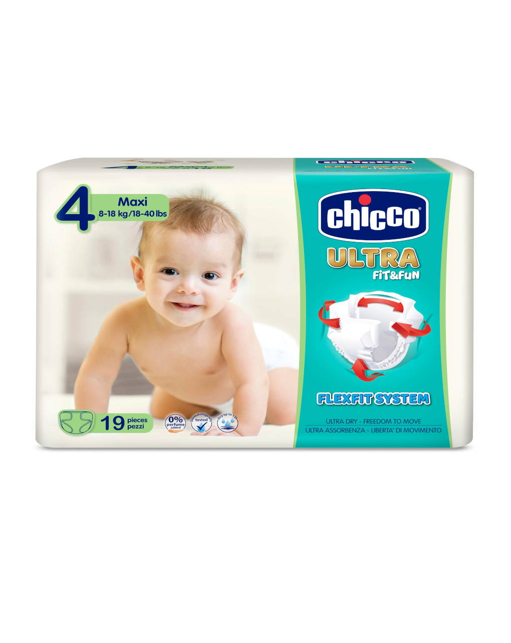 Chicco - pannolini ultra soft tg. 4 (8-18 kg) - pacco singolo 19 pz - Chicco