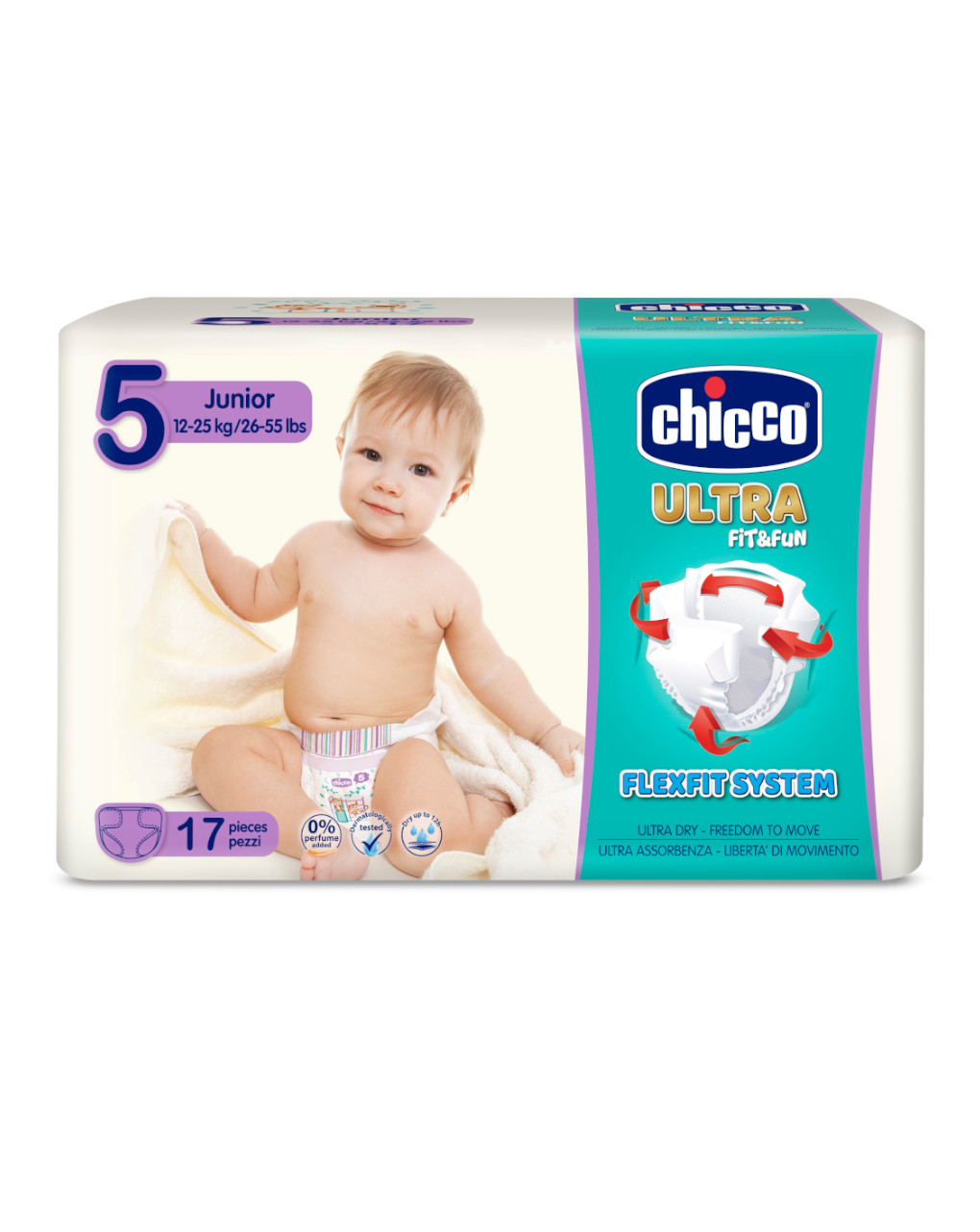 Chicco - pannolini ultra soft tg. 5 (12-25 kg) - pacco singolo 17 pz - Chicco