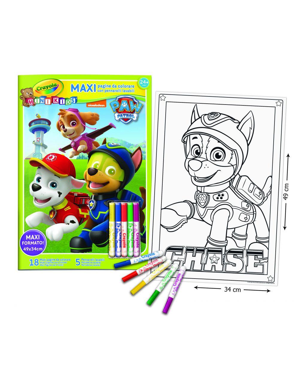 Crayola - maxi pagine da colorare paw patrol con pennarelli mini kids - Crayola