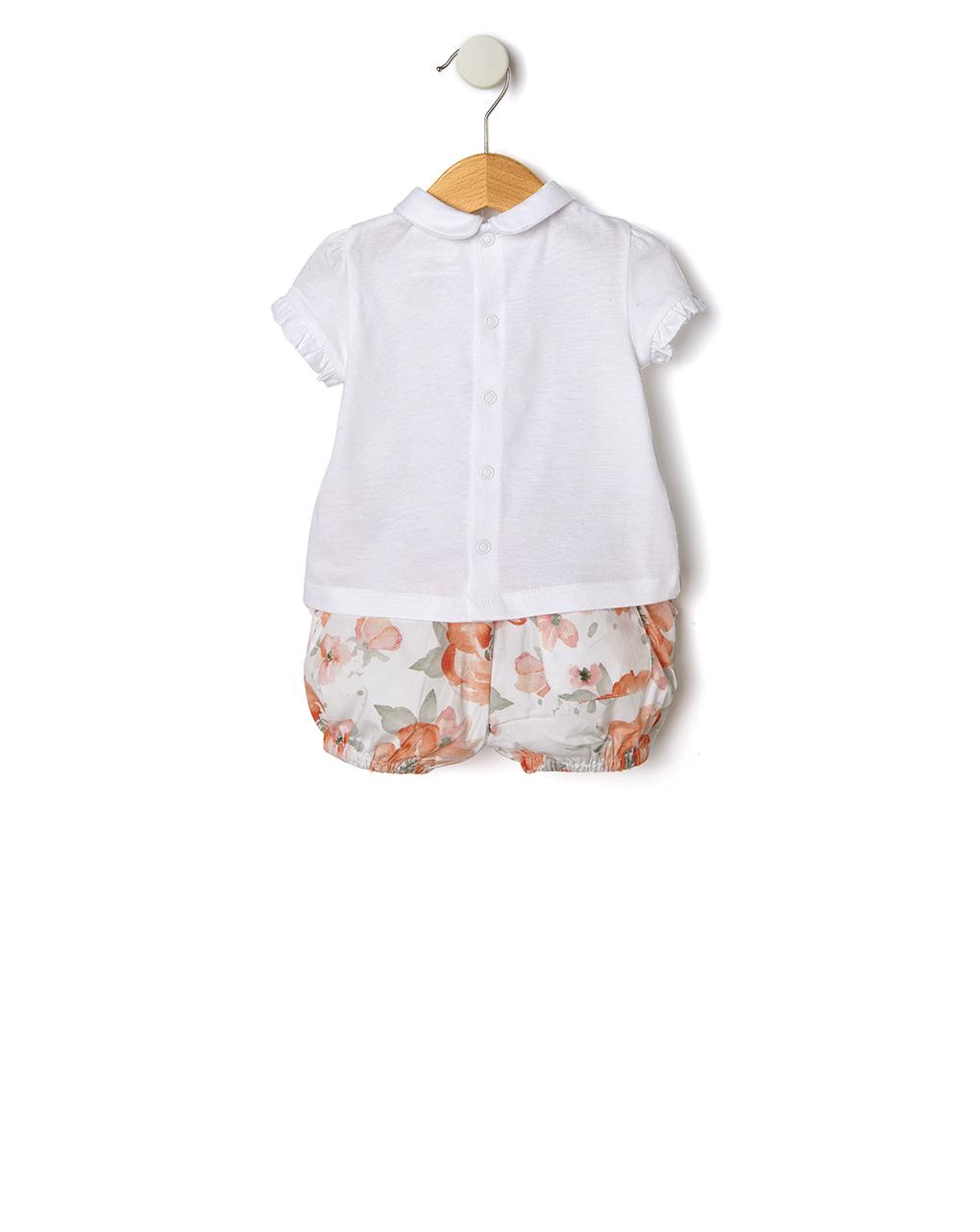 Completo t-shirt e pantaloncino con gatti e fiori - Prénatal