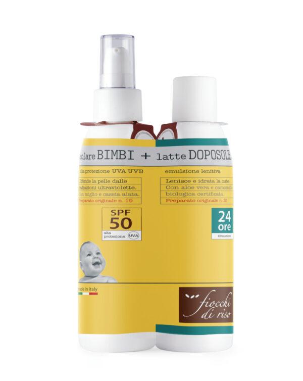 Bipacco Solare Bimbi SPF50+ 140 ml + Doposole 140 ml - Fiocchi di Riso