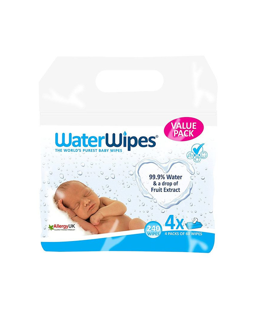 Water wipes - salviettine 99,9% di acqua (4 x 60 pz) - WaterWipes