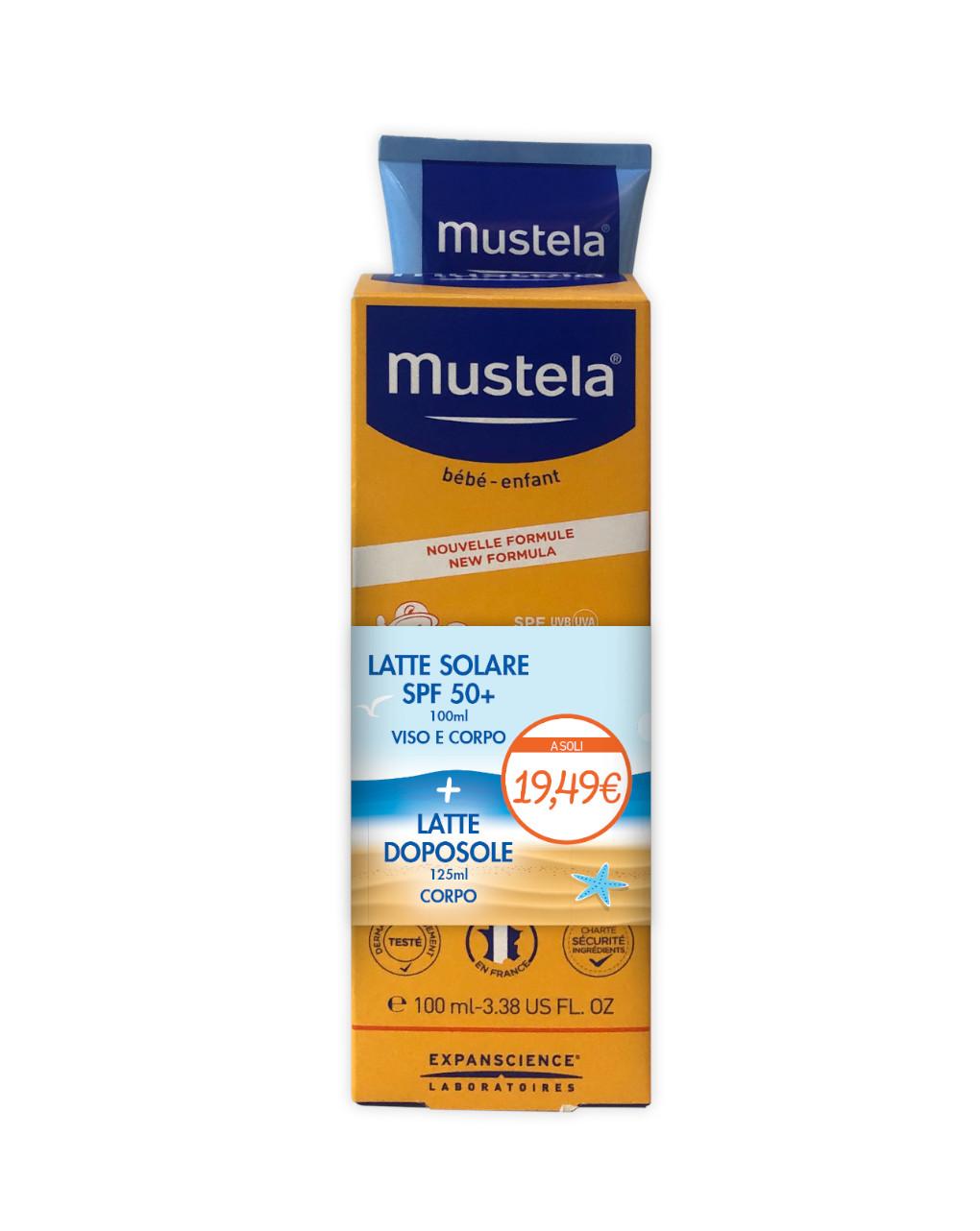 Bipacco latte solare spf50+ 100 ml + doposole 125 ml - Mustela