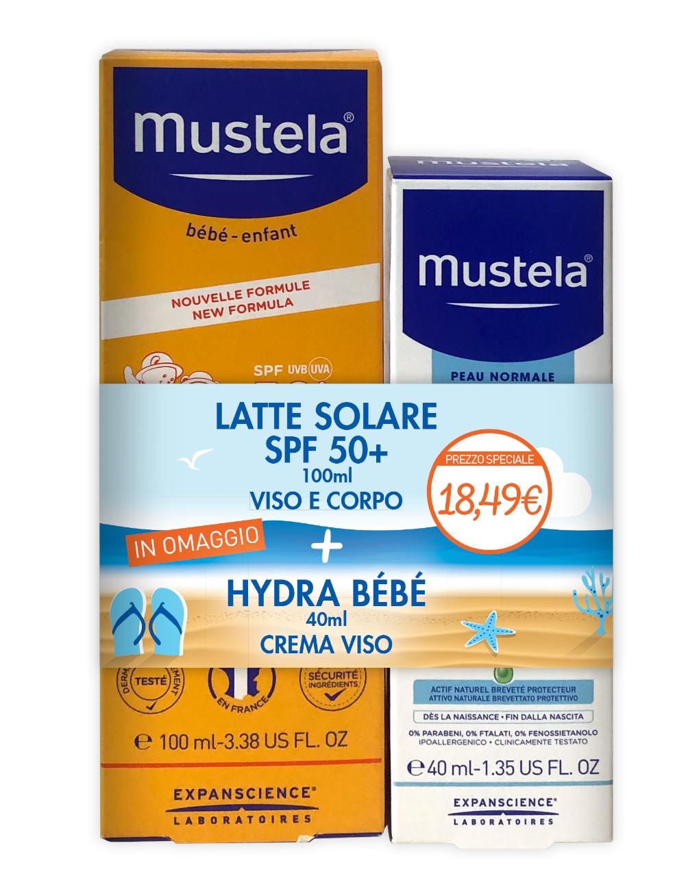 Latte solare spf50+ 100 ml + hydra bébé crema viso 40 ml - Mustela