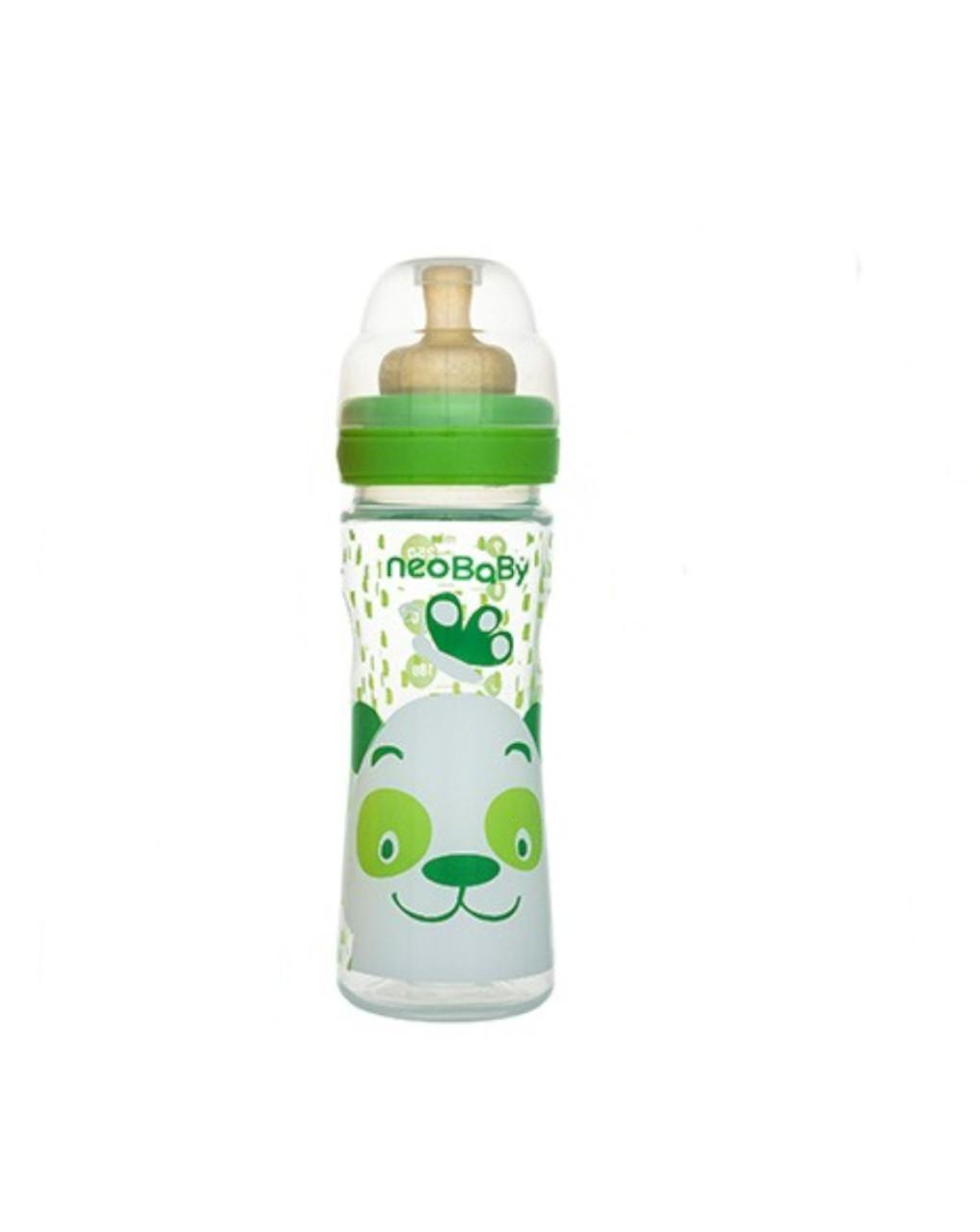 Biberon collo largo 250 ml verde caucciu neo baby - Neo Baby