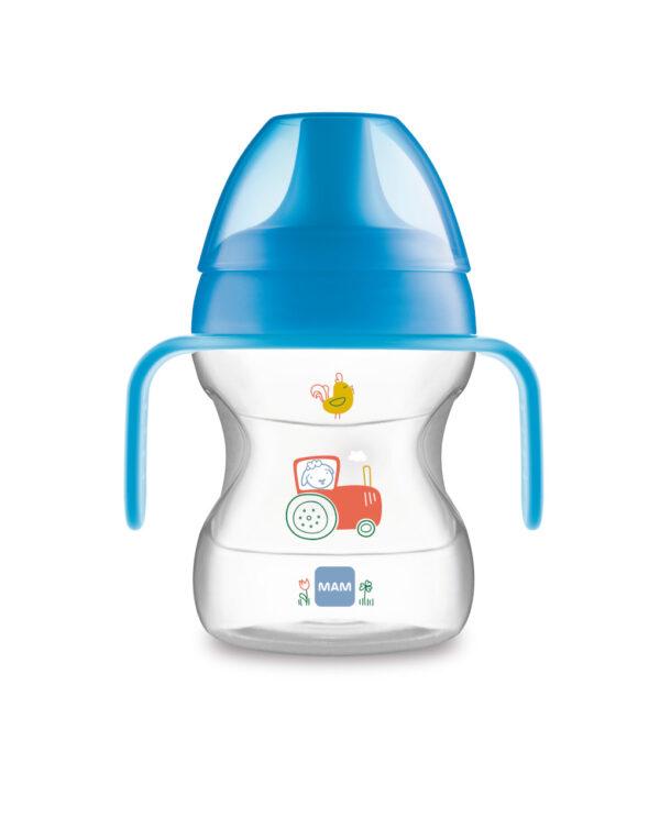 Tazza Learn to Drink 190ml con Extra Soft Spout e con manici, maschio - Mam