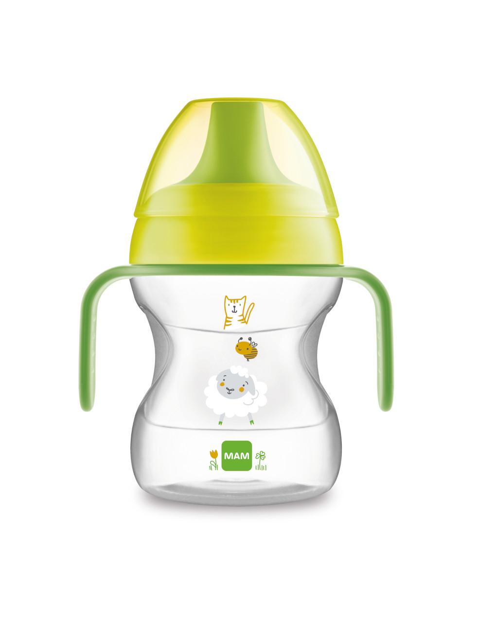 Tazza learn to drink 190ml con extra soft spout e con manici, neutro - Mam