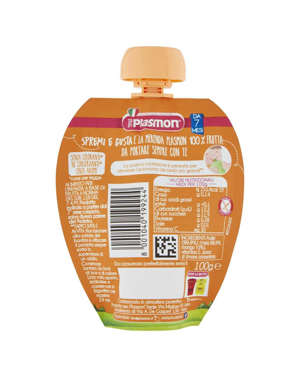 Plasmon - spremi e gusta mela e mango 100g - Plasmon