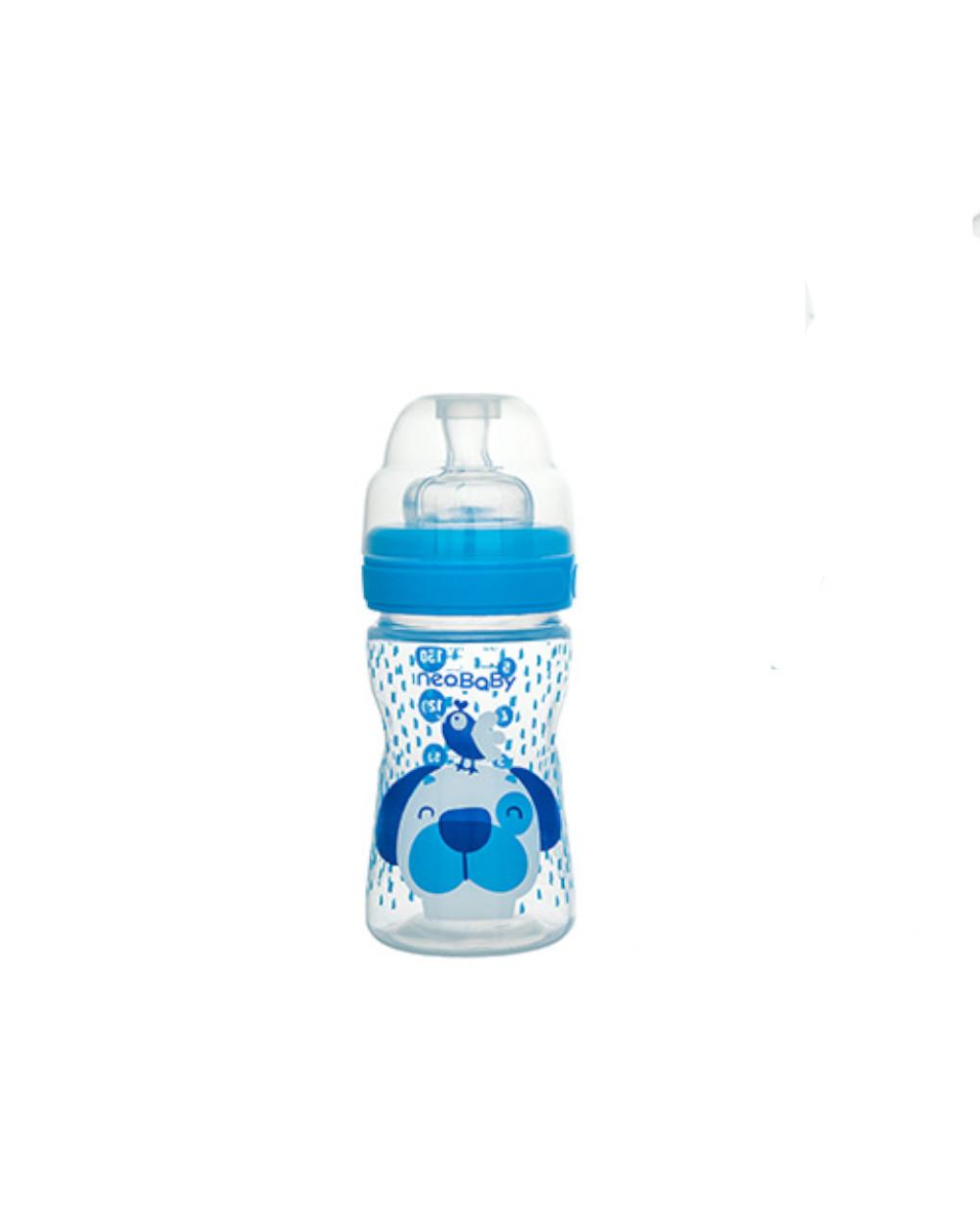 Biberon collo largo 150 ml blu silicone neo baby - Neo Baby