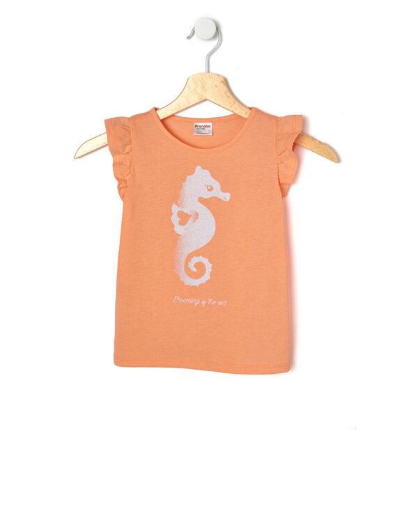 T-shirt jersey fluo con stampa glitter - Prénatal