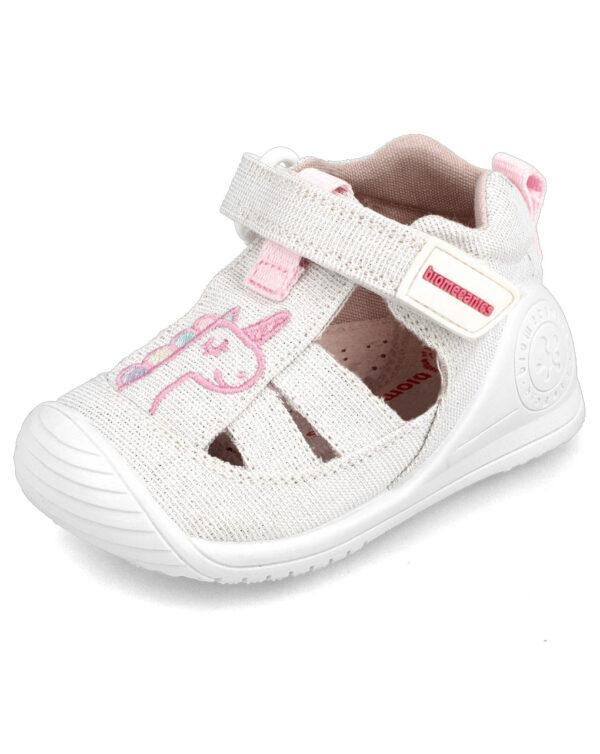 Sandalo ragnetto tela bimba bianco Biomecanics - Biomecanics