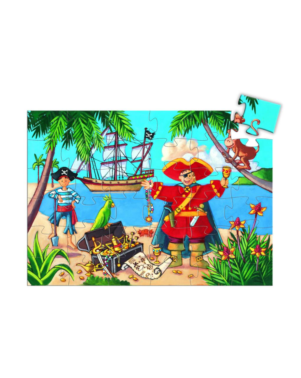 Djeco - the pirate and his treasure 36 pcs - puzzle sagomato - Djeco