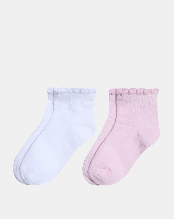 Pack 2 paia di calze in cotone mercerizzato in bianco e rosa - Prénatal