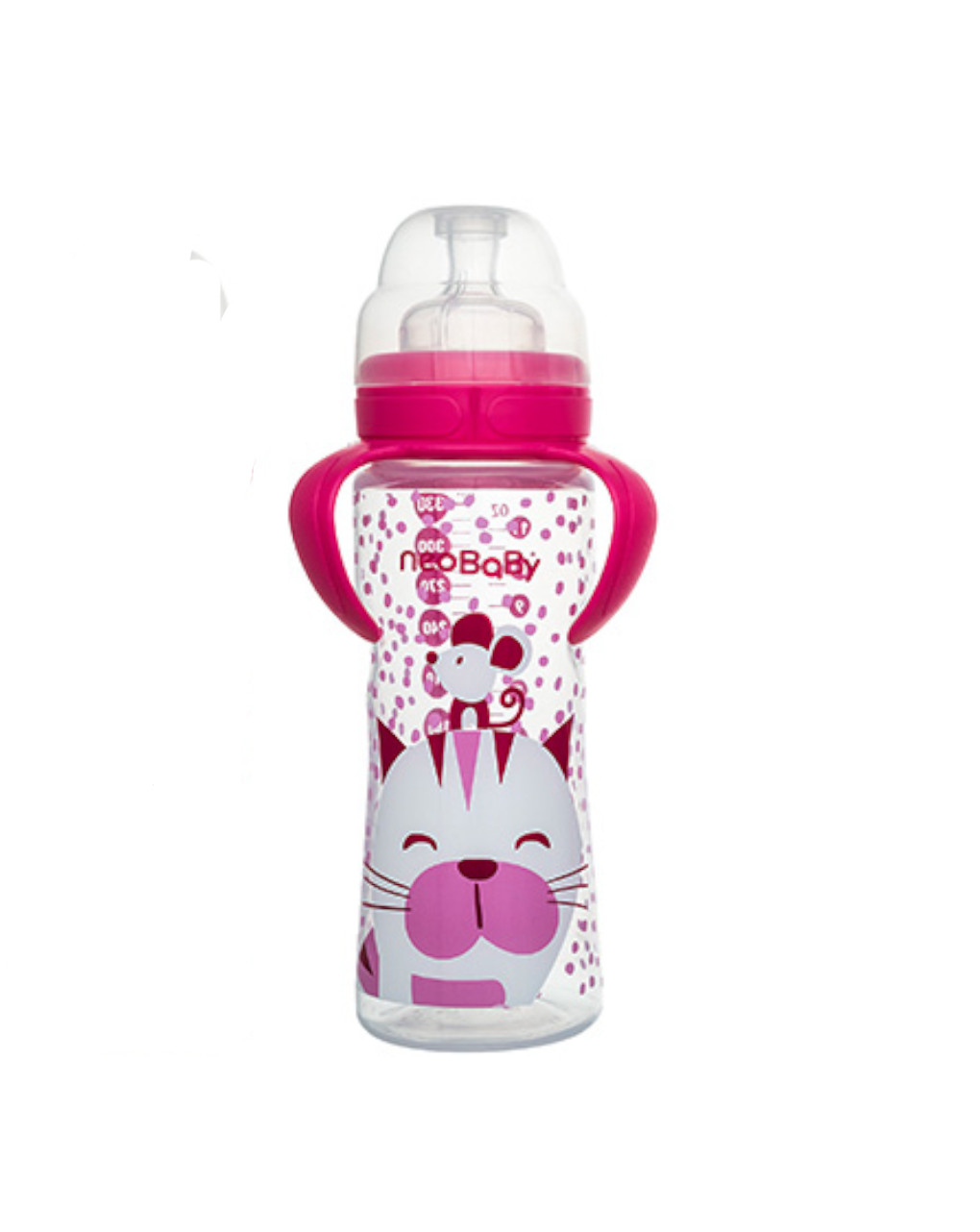 Biberon collo largo 330 ml rosa silicone neo baby - Neo Baby