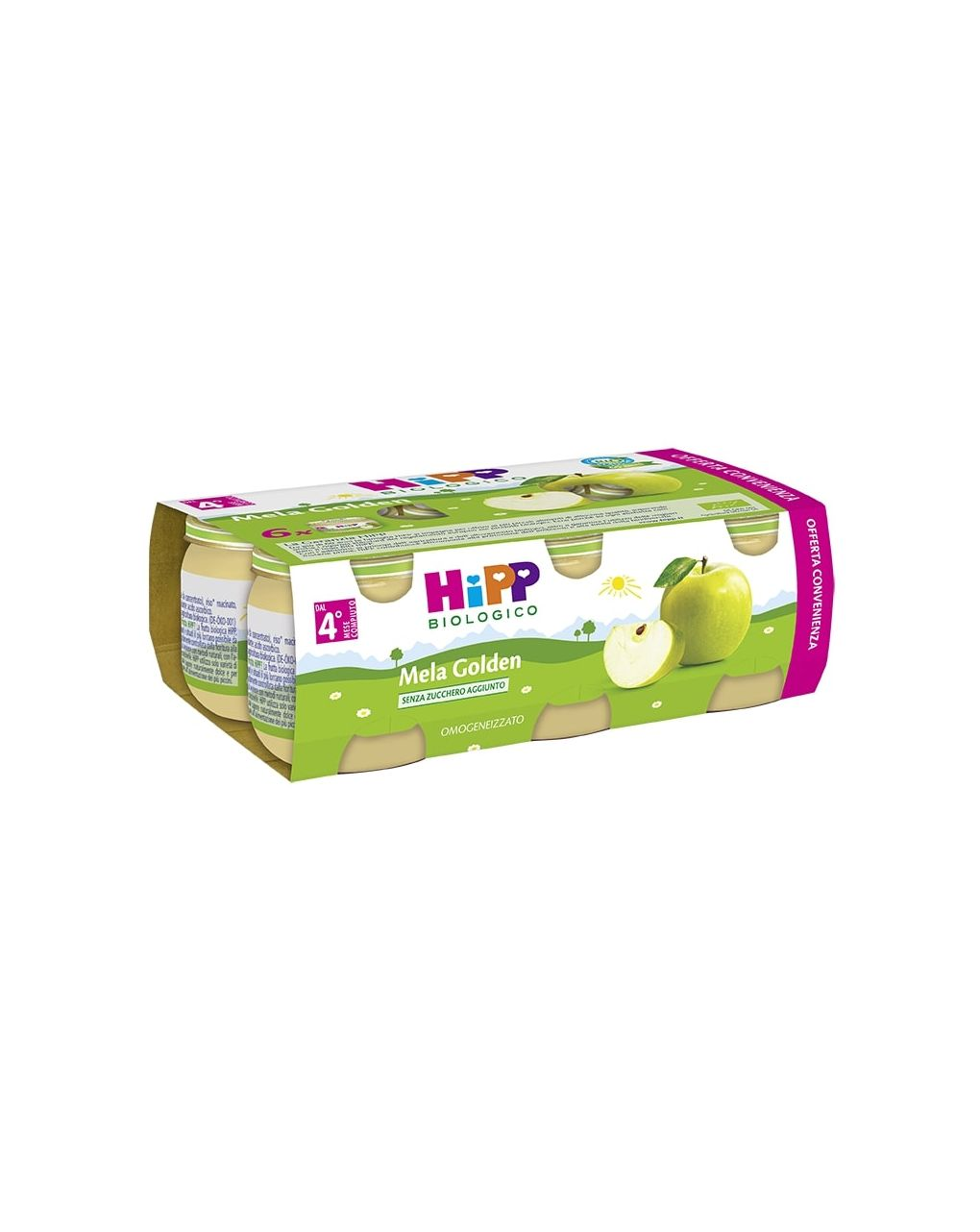 Hipp - omogeneizzato mela golden 100% 6x80g - Hipp