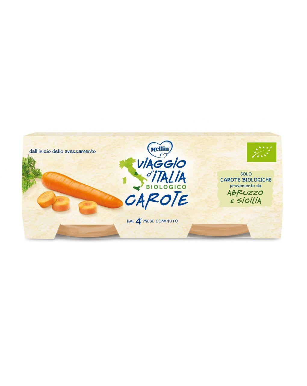 Mellin viaggio d'italia - omogeneizzato bio carote 2x80g - Viaggio d'Italia