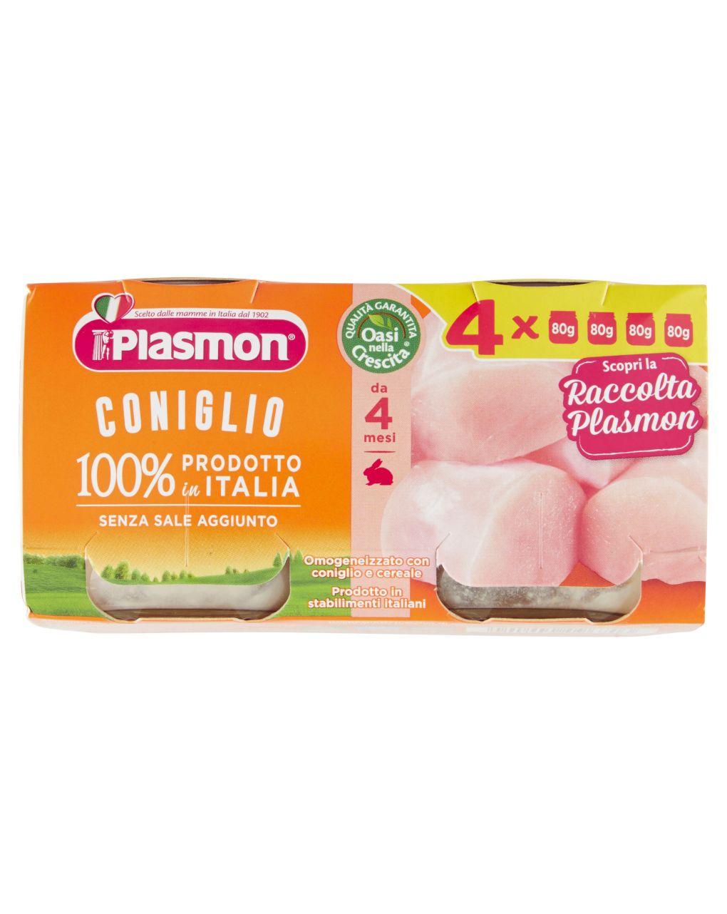 Plasmon - omogeneizzato coniglio 4x80g - Plasmon