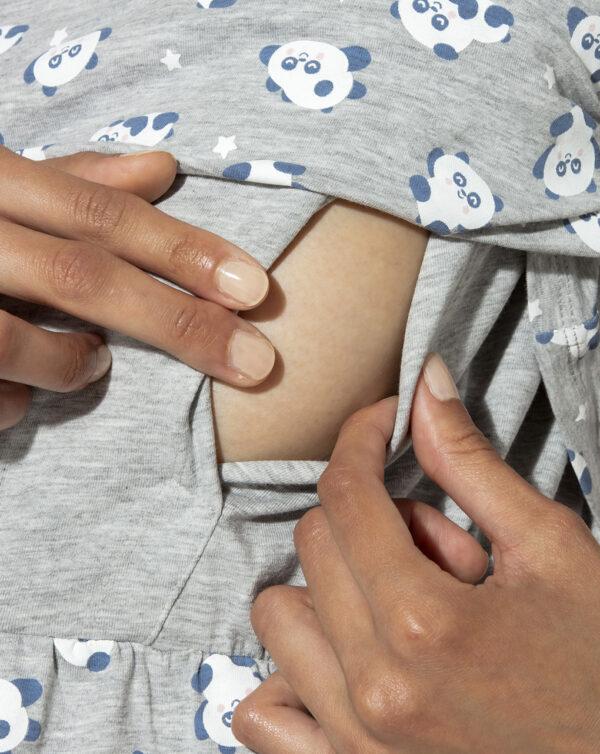 Camicia da notte allattamento con stampa allover panda Mr. Wonderful - Prénatal