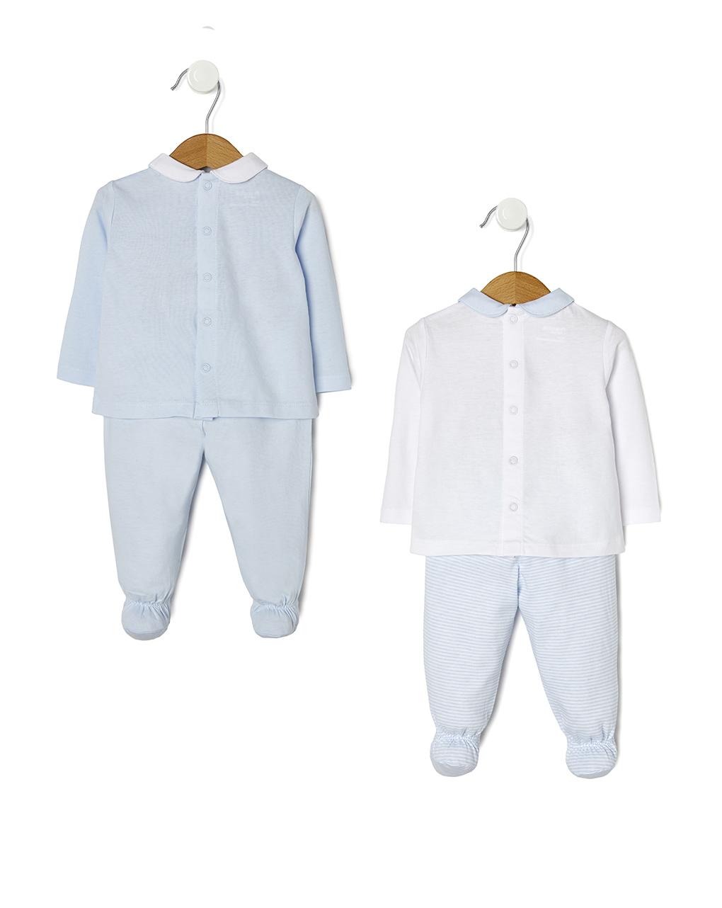 Completi in jersey azzurri e panna con ghette - Prénatal