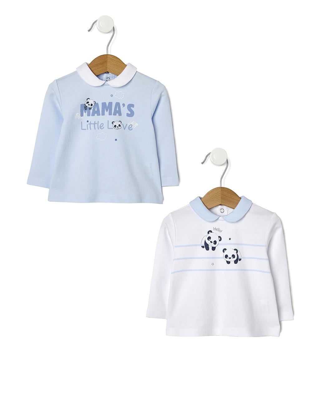 Pack 2 coprifascia azzurri e bianchi con stampa panda - Prénatal
