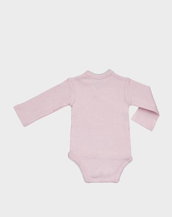Body rosa in cotone felpato con orsetto bianco - Prénatal