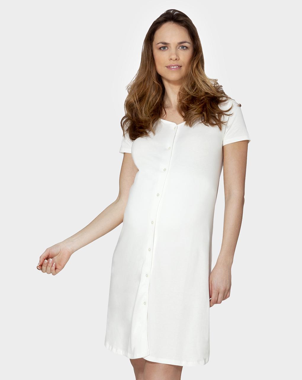 Camicia parto mezze maniche tutta aperta bianca - Prénatal