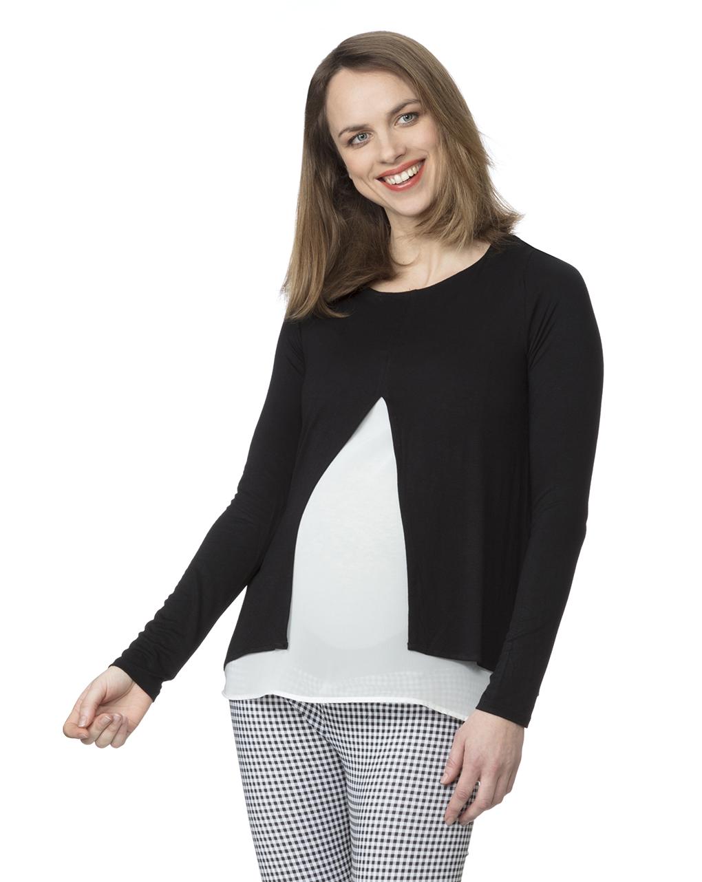 T-shirt allattamento bicolor nera e bianca - Prénatal