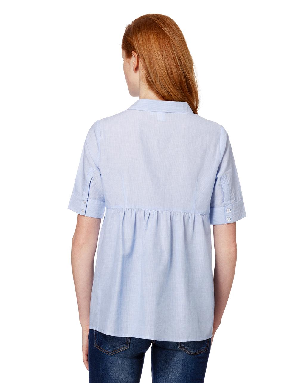 Camicia millerighe azzurre a maniche corte - Prénatal