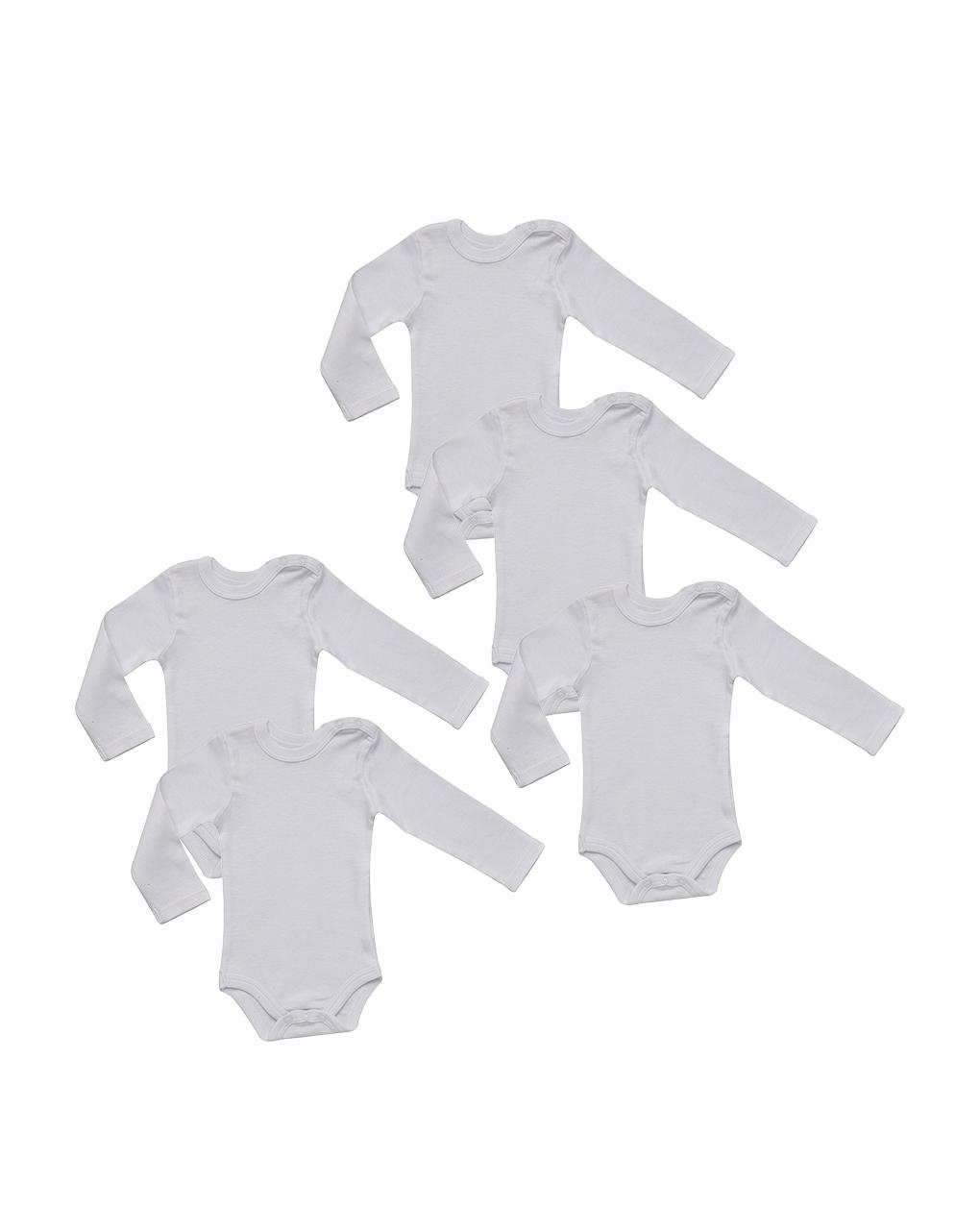 Pack 5 body bianchi maniche lunghe - Prénatal