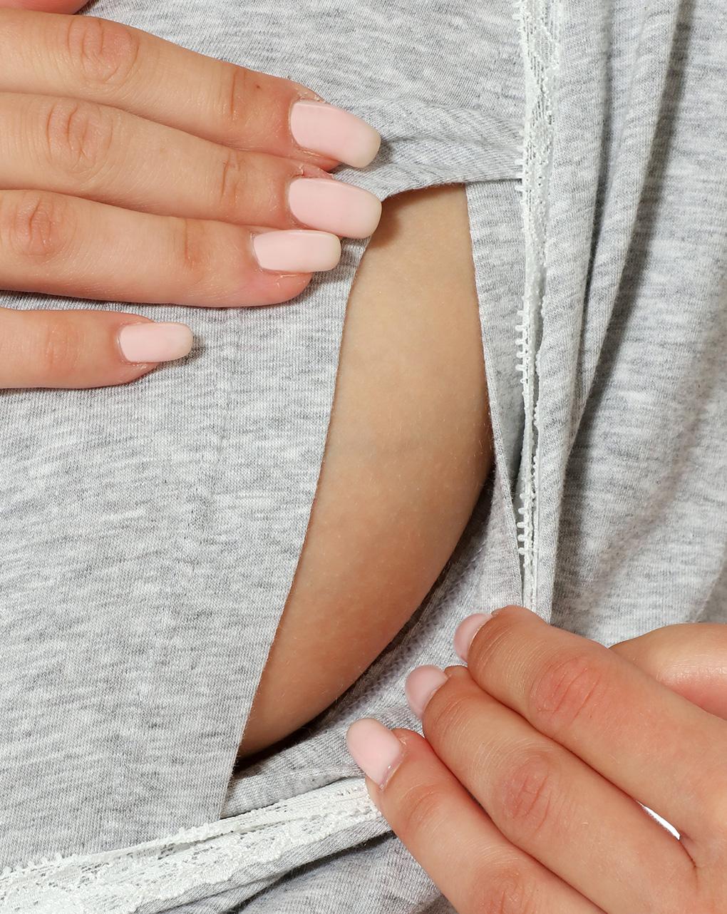 Camicia maniche lunghe grigio chiaro mélange con pizzo - Prénatal