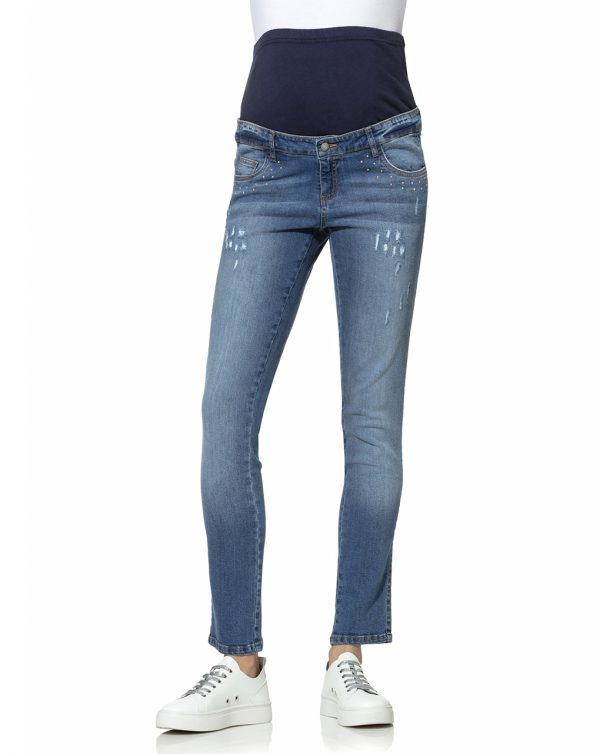 Pantalone premaman denim con borchie - Prénatal