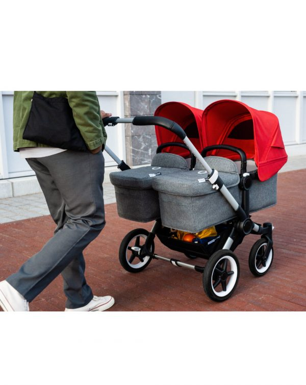 Carrozzina passeggino 2 in 1 Bugaboo Donkey 3 Gemellare Alluminio/Grigio Melange/Rosso - Bugaboo