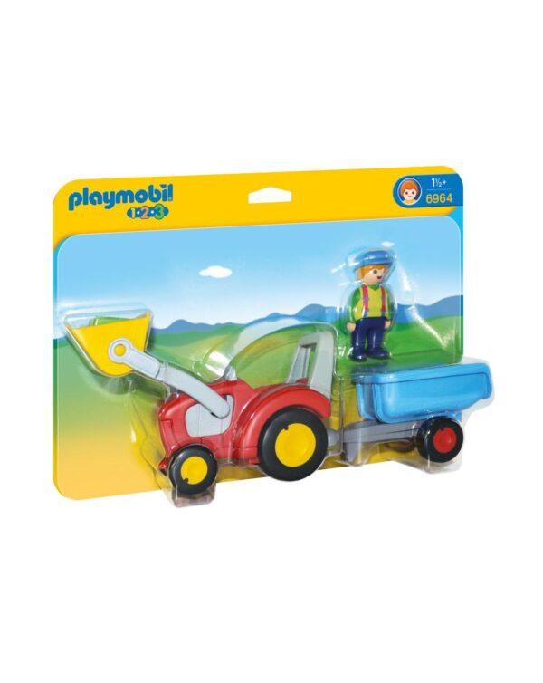 PLAYMOBIL - TRATTORE CON BENNA E RIMORCHIO 1.2.3 - Playmobil