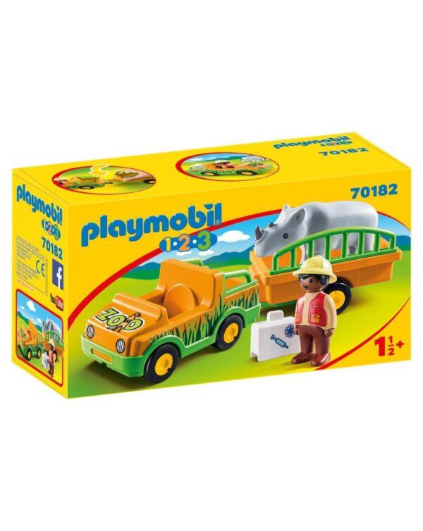 PLAYMOBIL - VEICOLO ZOO CON RINOCERONTE 1.2.3 - Playmobil