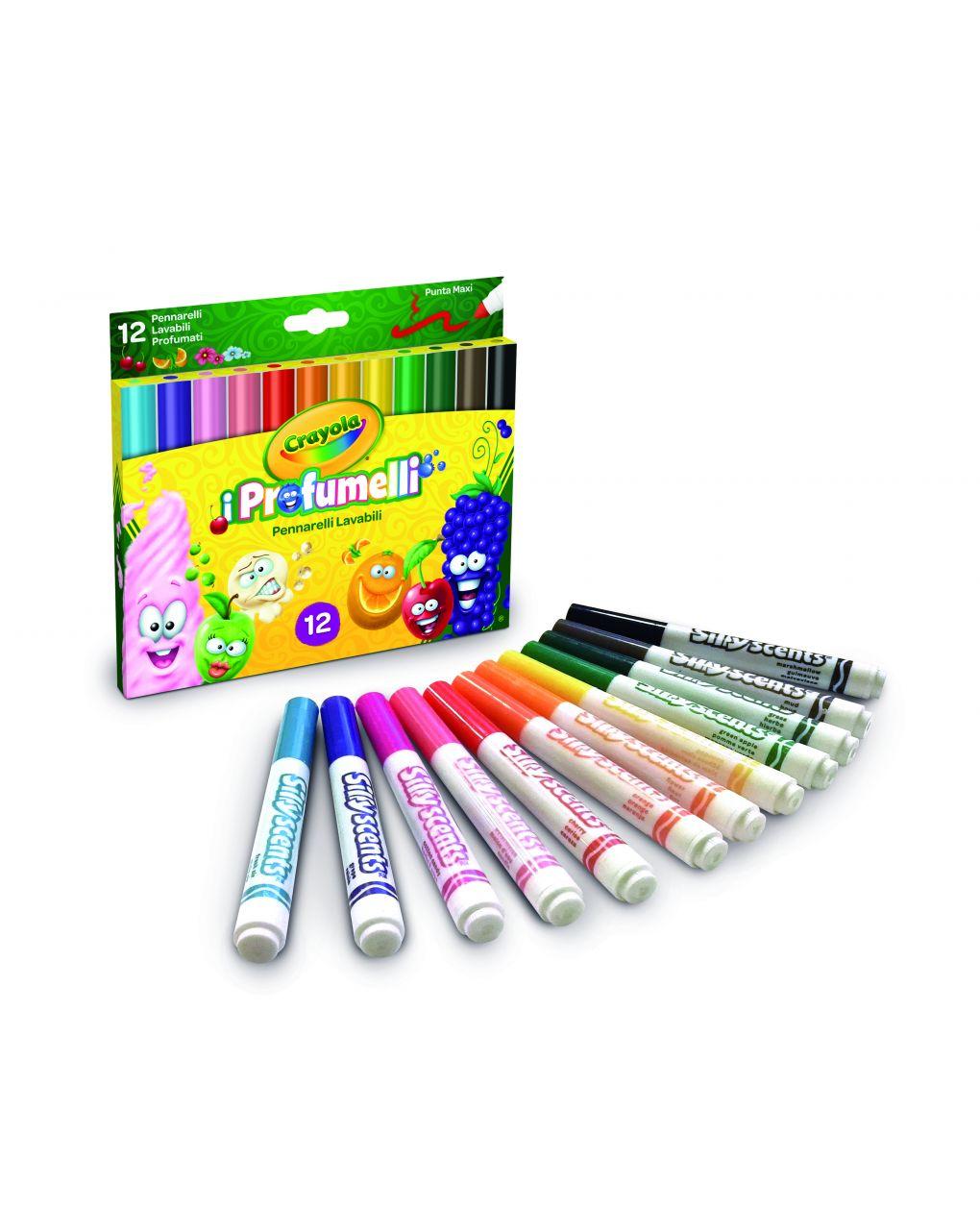 Crayola - 12 pennarelli profumelli maxi punta lavabili - Crayola
