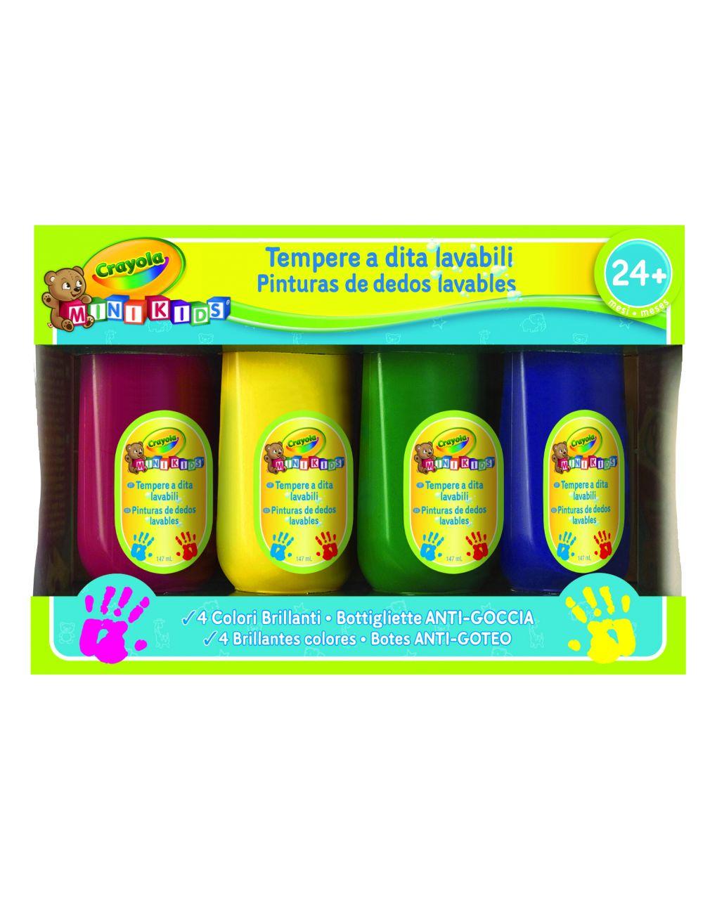 Crayola - 4 tempere a dita lavabili mini kids - Crayola