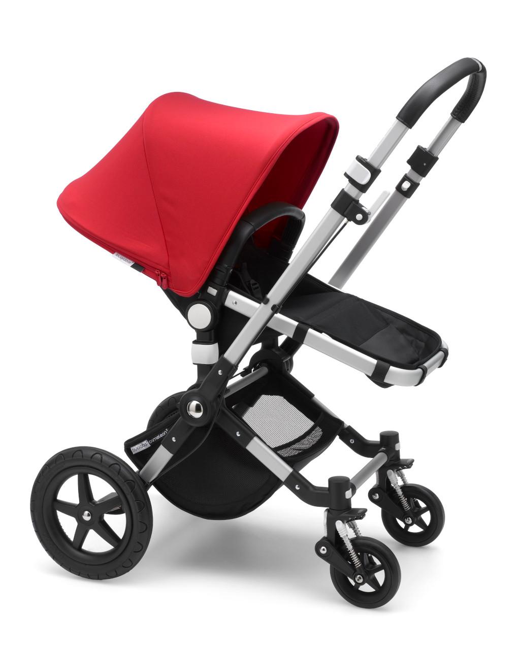 Bugaboo cameleon³ plus tessuto nero – telaio alluminio – cappottina rossa - Bugaboo
