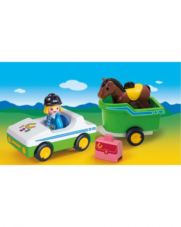 PLAYMOBIL - AUTO CON TRASPORTO CAVALLI 1.2.3 - Playmobil