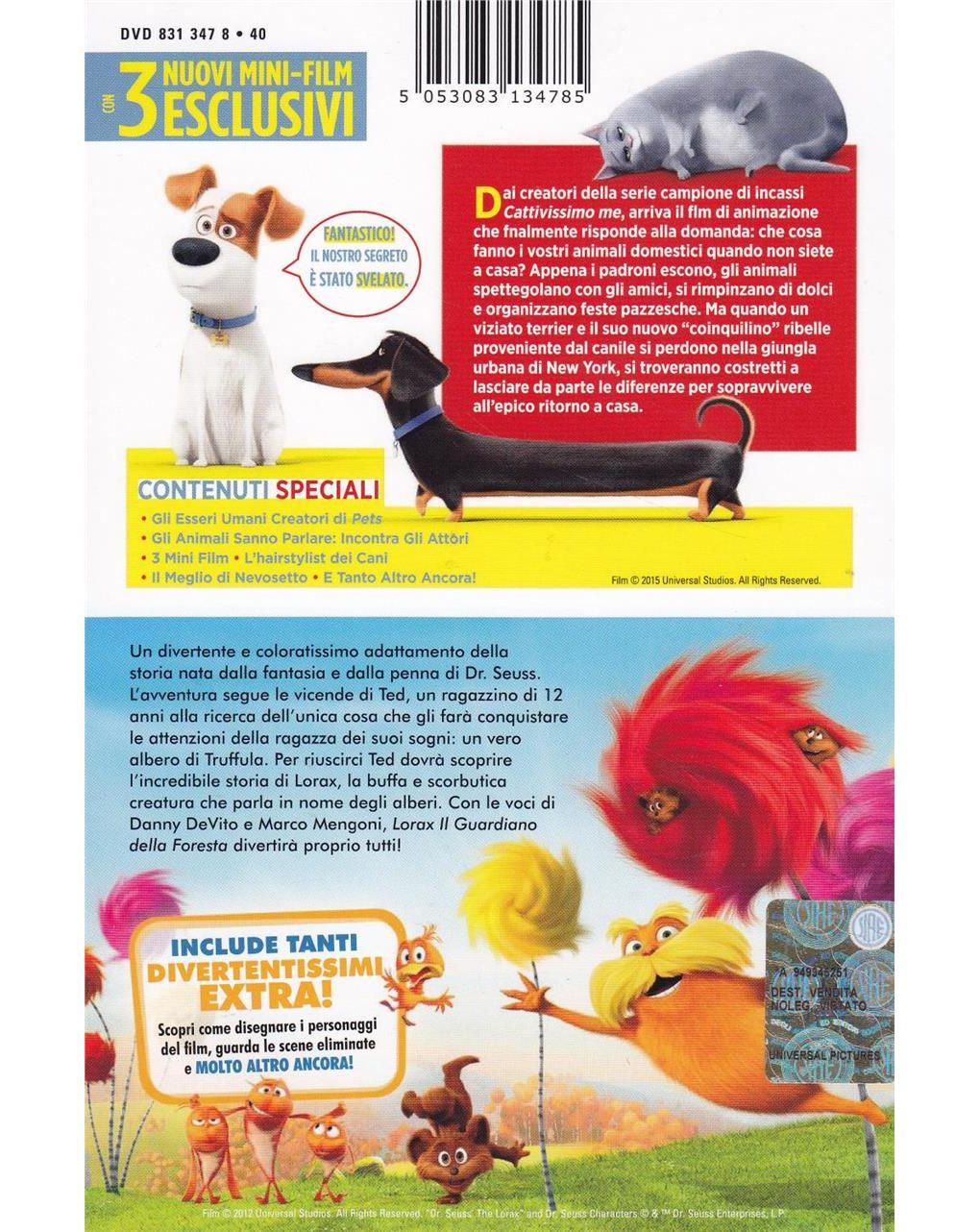 Dvd cofanetto pets + lorax - Video Delta