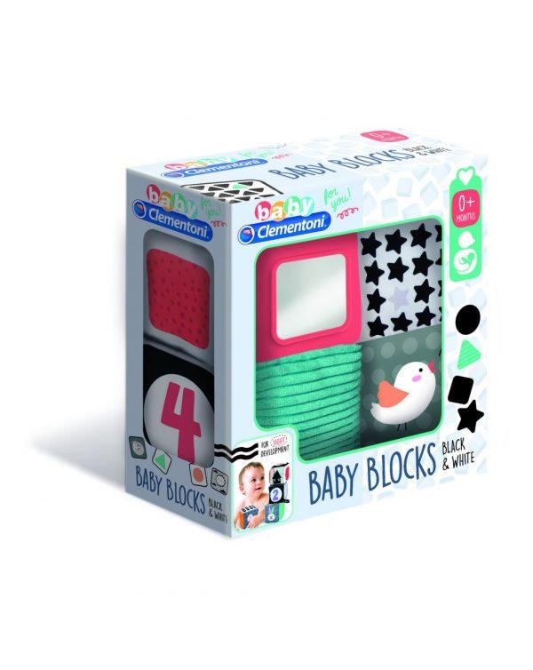 BABY CLEMENTONI - BLACK & WHITE SOFT ACTIVITY BLOCKS - Clementoni