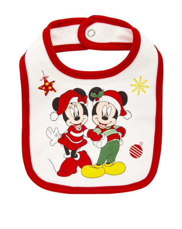 Bavaglino natalizio con stampa Minnie e Topolino - Prénatal