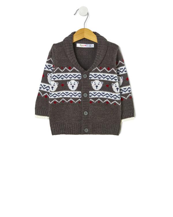 Cardigan tricot con ricamo orso - Prénatal