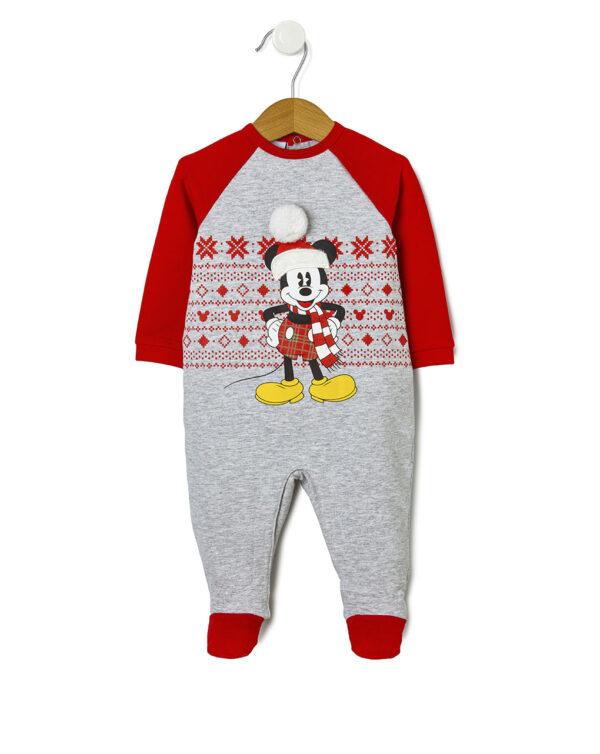 Tutina in felpa con stampa Mickey Mouse natalizia - Prénatal