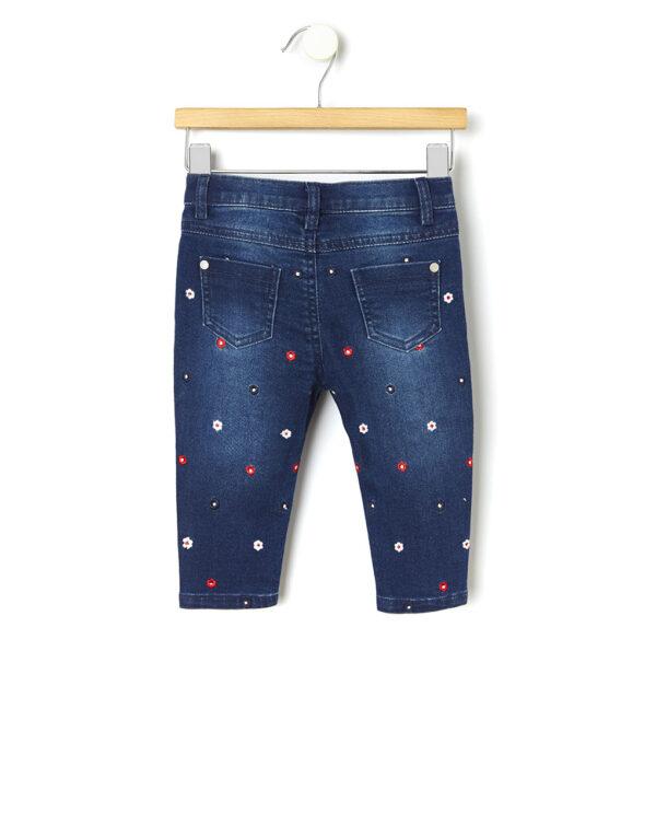 Pantalone denim con ricamo allover floreale - Prénatal